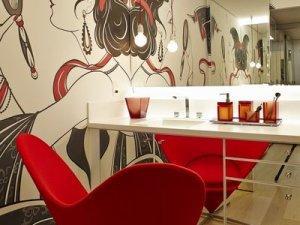 高雅红色新古典风格硅藻泥墙面装修效果图