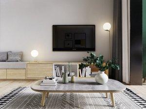 40平小loft公寓装修 客厅硅藻泥墙面装修图