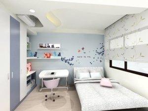 清新简约卧室设计 蓝色硅藻泥墙面效果图