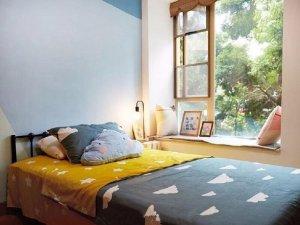 简单撞色系居室 薄荷蓝硅藻泥装修