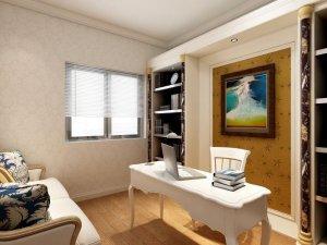 简约风格硅藻泥效果图 黄色书房硅藻泥背景墙效果图