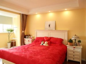 现代简约风格硅藻泥图片 黄色卧室硅藻泥效果图