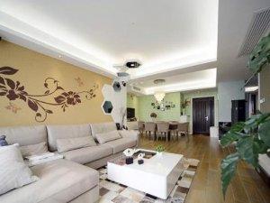 现代简约风格硅藻泥效果图 黄色硅藻泥沙发背景墙图片