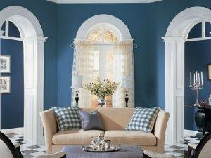北欧风硅藻泥装修图片  客厅蓝色硅藻泥装修效果图