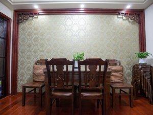 中式混搭风格硅藻泥装修效果图 餐厅背景墙硅藻泥装修效果图