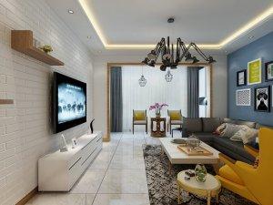 北欧风格硅藻泥装修效果图 客厅蓝色硅藻泥装修图片