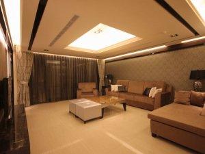 典雅现代风格硅藻泥装修效果图 客厅黄色硅藻泥图片