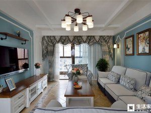 美式乡村硅藻泥装修图片 客厅蓝色装修效果图