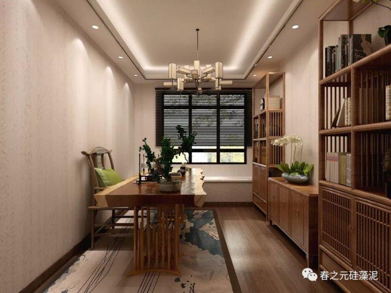 春之元硅藻泥图片 165m²新中式风格家装效果图