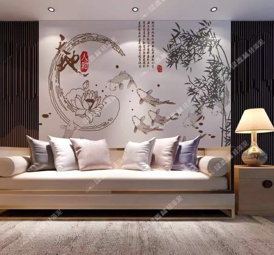 绿森林硅藻泥图片 卧室装修效果图