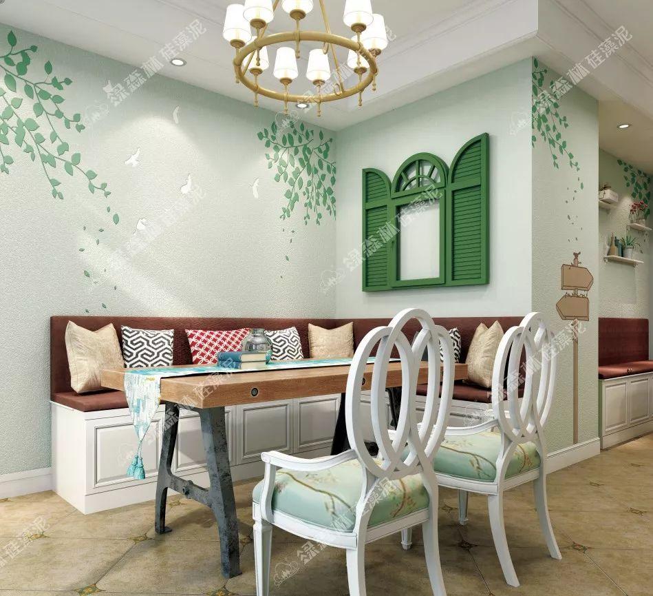 绿森林硅藻泥图片 客厅装修效果图