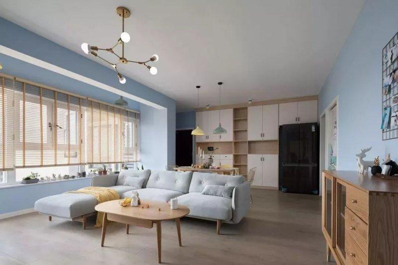 北欧风格硅藻泥装修效果图 蓝色家居装修图片