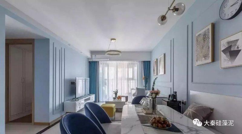 大秦硅藻泥图片 灰蓝色三居室装修效果图