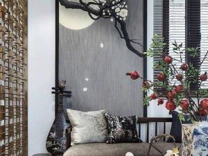 海宜家机能硅藻泥效果图 新中式风格家装图片