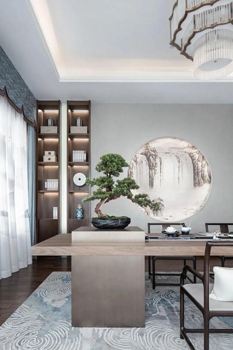 新中式风格家居装修效果图 高级灰客厅装修图片