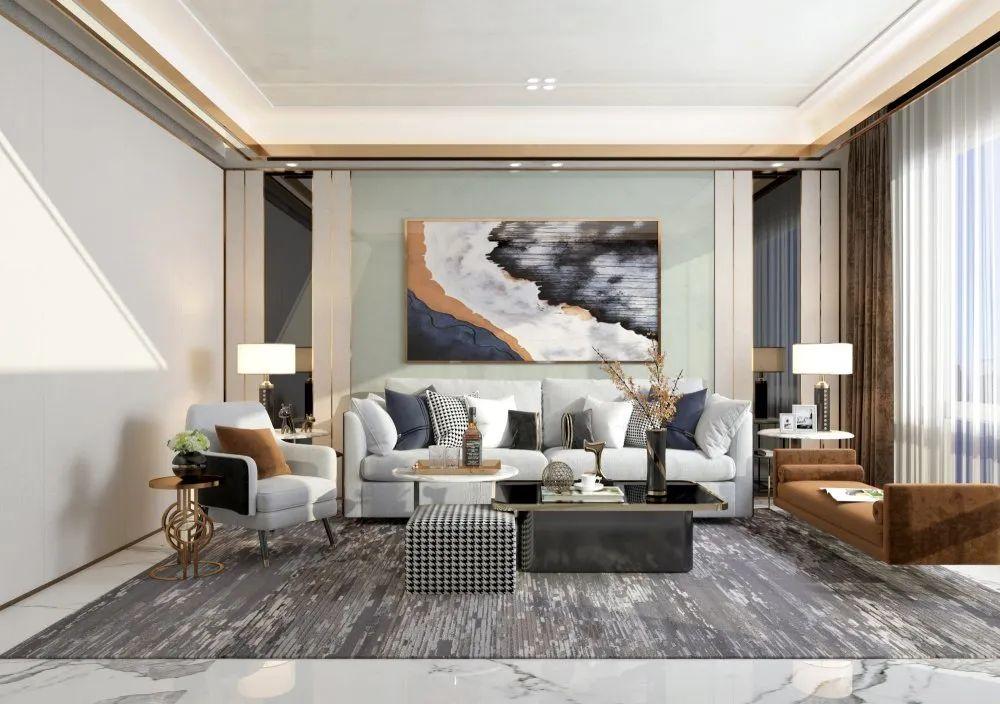 泥师傅硅藻泥图片 现代轻奢风格家装效果图