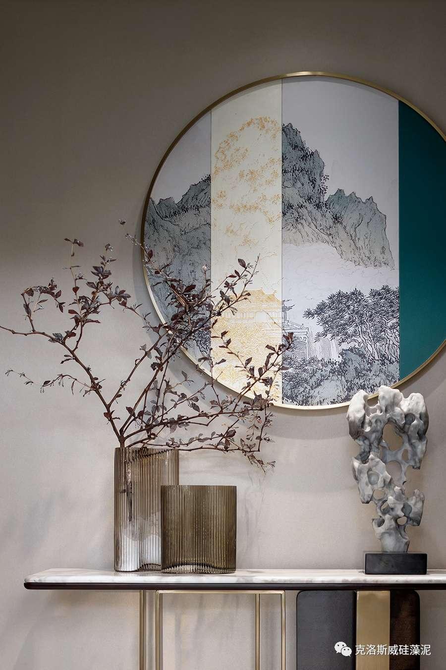 克洛斯威硅藻泥硅藻泥效果图 中式雅奢风格装修图片_1