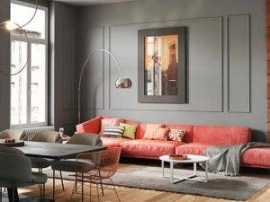 海宜家灰色硅藻泥客厅装修图片